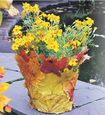 Осенние метаморфозы - ваза из листьев