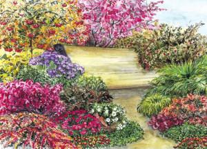 Оформляем цветочный дизайн скамейки