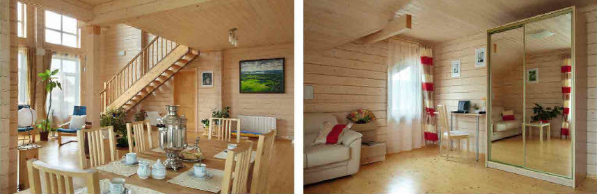 Деревянный дом из клееного бруса с синими глазами