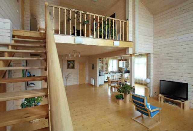 Интерьер деревянного дома из клееного бруса