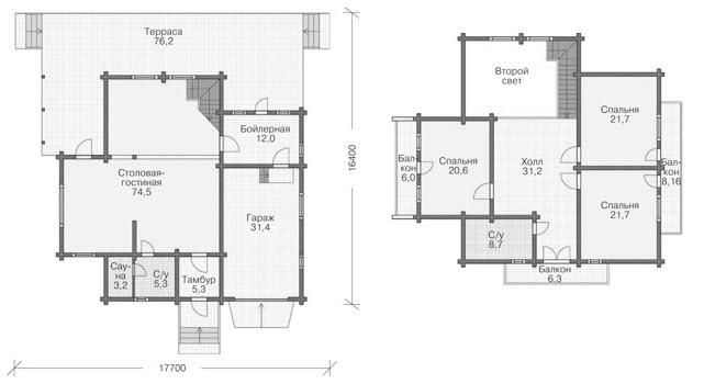 Планировка деревянного дома из клееного бруса