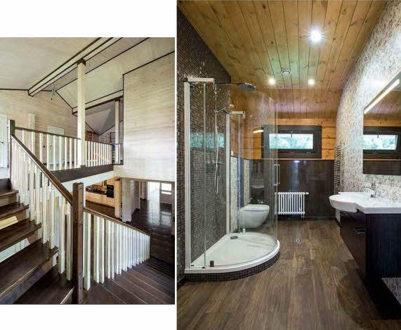 Лестница российского производства из массива древесины с темными ступенями и выбеленными ограждениями органично вписалась в жилое пространство. В ванной комнате установлена дизайнерская душевая кабина
