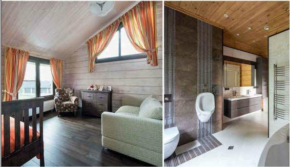 В жилых комнатах поверхность бруса и потолочной обшивки покрыта матовым белым лаком Tikkurila, а в санузлах — прозрачным