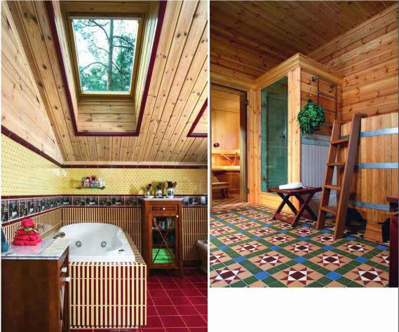 В ванной комнате на втором этаже мансардные окна в крыше создают ощущение единства интерьера и природы. Лежа в гидромассажной ванне, можно любоваться проплывающими облаками. Цвета керамической плитки гармонично сочетаются с естественным оттенком сосны. Деревянная мебель и аксессуары дополняют мотивы английского интерьера в декоре