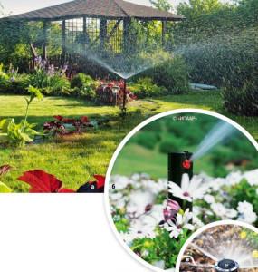 При выборе высоты дождевателей исходят из состава растений. Для полива кустарников и высоких цветов потребуется модель со штоком длиной от 60 см (а), а для полевых цветов и газона подойдут изделия со штоком от 10 до 30 см (6, в)