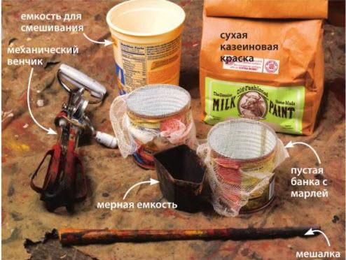Вот что вам потребуется для приготовления порции краски. Многое из этого можно взять на кухне. Главное - не забыть вымыть дочиста, пока краска не высохла.