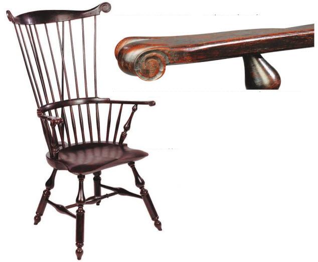 Подлокотник этого виндзорского кресла демонстрирует богатую палитру оттенков многослойной отделки казеиновой краской.