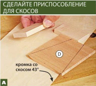 Совместите линию разметки скоса на стенке рупора D с краем скоса несущей доски и зафиксируйте положение заготовки упорами из обрезков.