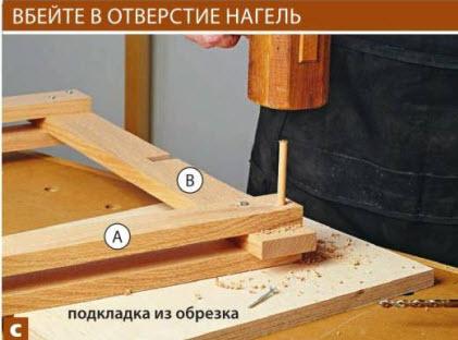 С помощью угольника и упора, закрепленного на краю верстака, выровняйте ножки А. Проставка из обрезка доски поможет правильно расположить проножку В.