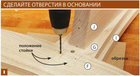 Просверлите сквозные отверстия в верхней и нижней передних деталях F, Н, устанавливая сверло посередине между метками.