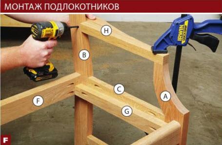 Приклейте подлокотники Н на место, вставив в отверстия шканты. Затем вверните шурупы сквозь задние ножки В, чтобы окончательно скрепить детали.