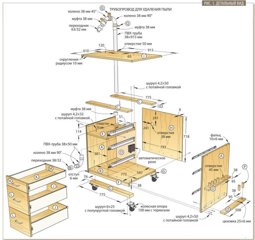 Стол-тумба для шлифования с системой удалении пыли схема