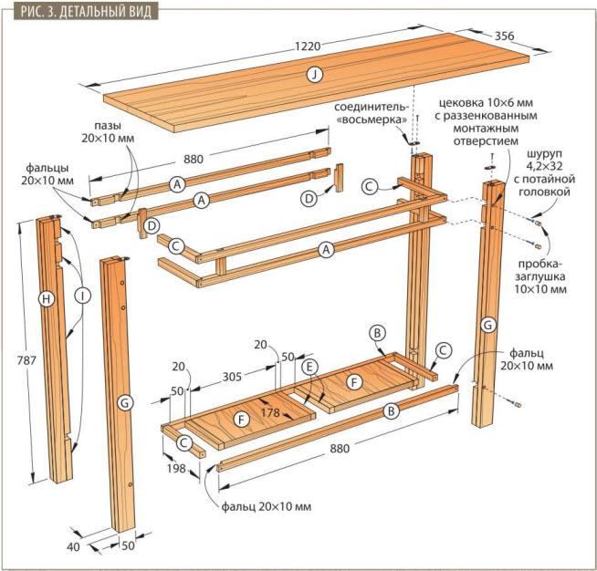 стол для прихожей схема