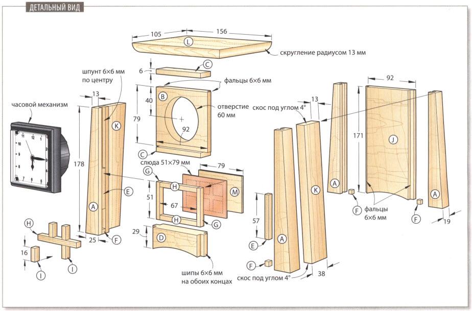 Каминные часы из дерева - схема