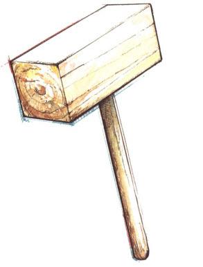 Киянка для уплотнения соединений (часто изготавливается на стройке из отрезка бруса).