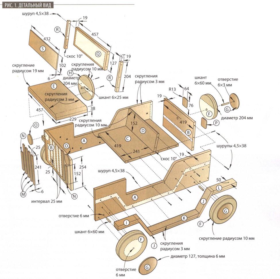 Детский автомобиль-качалка - схема