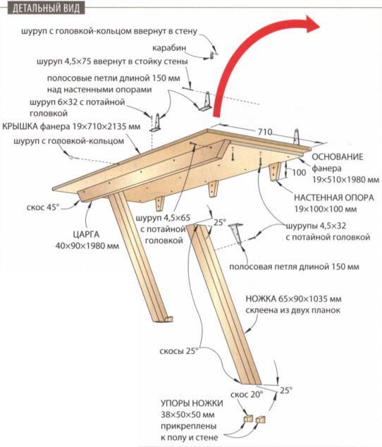 Откидной рабочий стол - схема