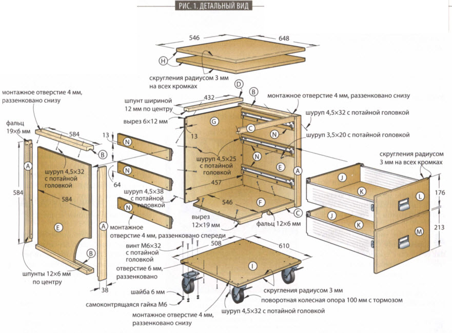 Тумба-комод с тремя ящиками для мастерской - схема