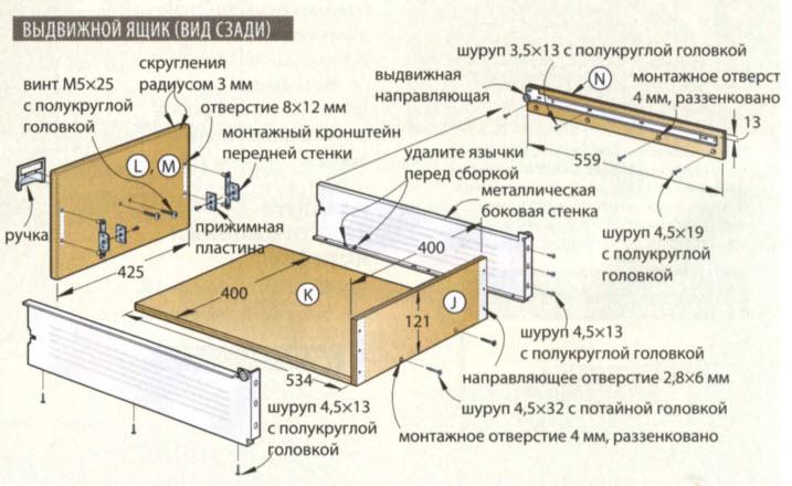 выдвижной ящик - схема