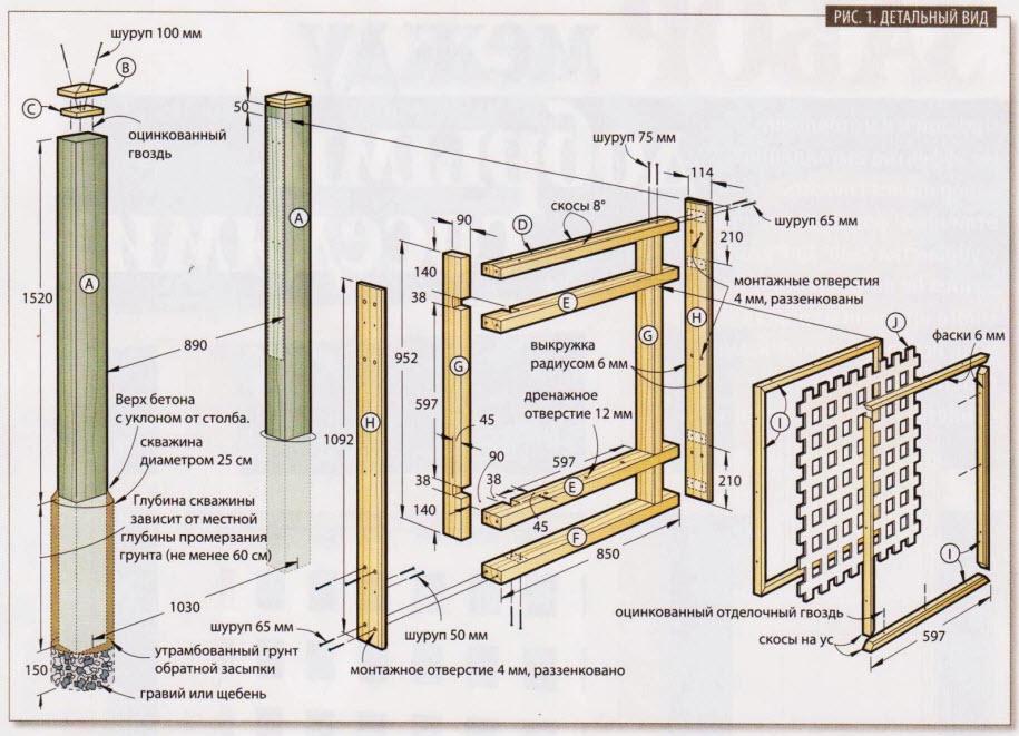 Красивый забор из дерева - схема