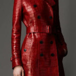 Тренч, Long Alligator Leather Trench Coat, Burberry