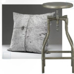 (Декоративная подушка, Concrete Cushion #21, Concrete Wall TM) и (Табурет, Turner Gunmetal Barstool, Crate & Barrel)