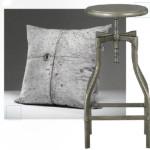 (Декоративная подушка, Concrete Cushion #21, Concrete Wall TM) и (Табурет, Turner Gunmetal Barstool, Crate & Barrel)
