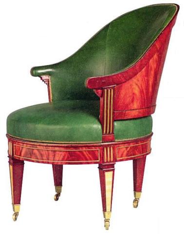 Кресло, вращающееся на шарнирах (91,5x79,5x68 см). Давид Рентген, около 1783-84 гг. Орех и махагони, кожа (заменена), латунь, сталь и рог. Фонд Замка Чатсворт.